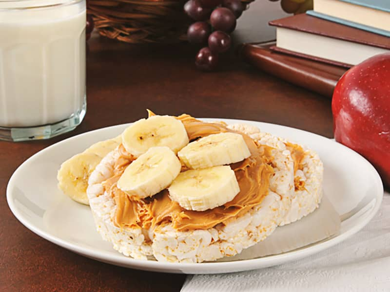 Rice cakes with PB and Banana